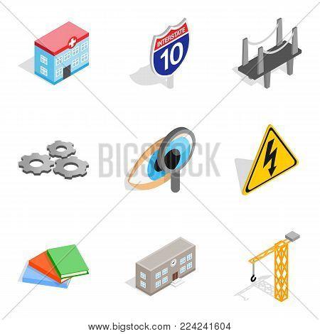 Cutting edge technology icons set. Isometric set of 9 cutting edge technology vector icons for web isolated on white background