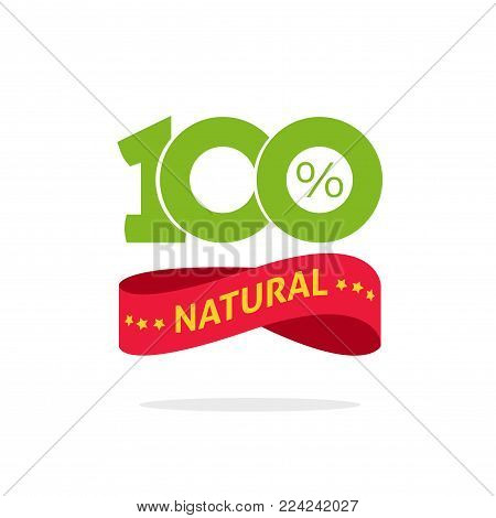 100 perecnt natural vector green and red label, stamp or rubber isolated, 100 percent natural sticker or logo symbol design, number 100