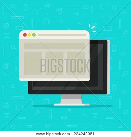 Web browser window on computer display vector illustration, flat cartoon style of desktop pc with web page or website, concept of internet network icon