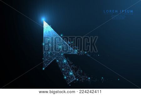 Cursor arrow. Polygonal wireframe mesh art with crumbled edge on blue night sky with dots, stars and looks like constellation. Internet, choice, navigation or other concept illustration or background