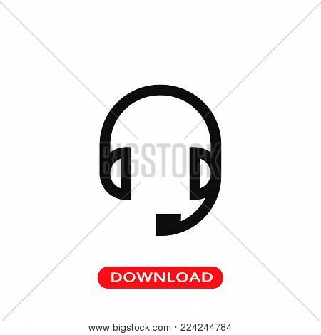 Headset for call service icon vector in modern flat style for web, graphic and mobile design. Headset for call service icon vector isolated on white background. Headset for call service icon vector illustration, editable stroke and EPS10. Headset for call