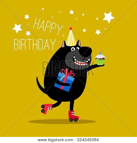 Birthday dog label. Happy dog on rollerskates and with gifts for greeting card vector illustration