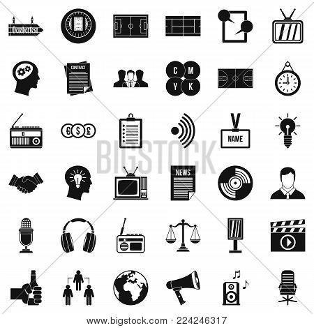 Mass communication icons set. Simple set of 36 mass communication vector icons for web isolated on white background