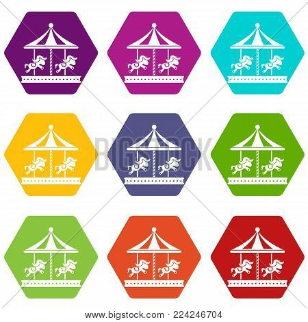 Merry go round horse ride icon set many color hexahedron isolated on white vector illustration