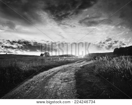 Beautiful Black & White Landscape In Ukraine with Awesome Sunset Sky