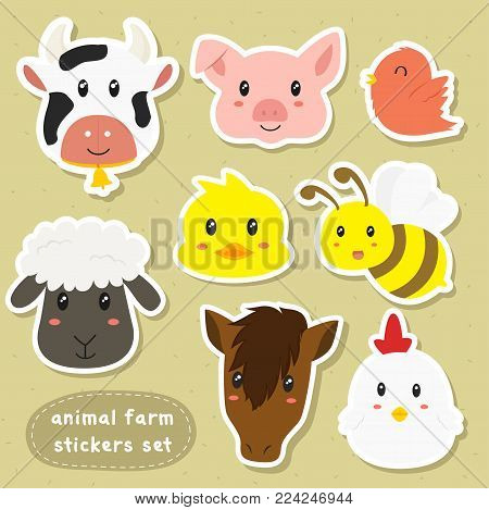 cute animals farm sticker set. farm animals sticker template cartoon vector