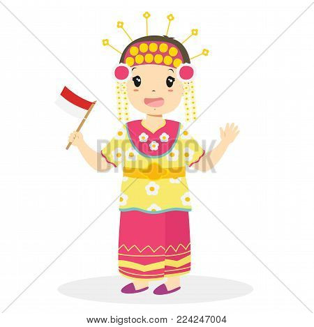 Girl wearing South Kalimantan traditional dress and holding Indonesian flag. Indonesian children, South Kalimantan traditional dress cartoon vector