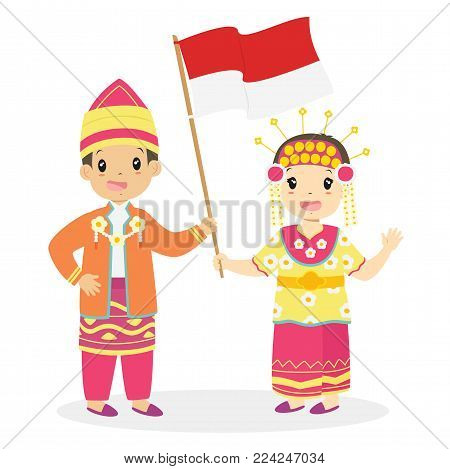 Happy boy and girl wearing South Kalimantan traditional dress and holding Indonesian flag. Indonesian children, South Kalimantan traditional dress cartoon vector