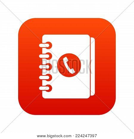 Address book icon digital red for any design isolated on white vector illustration