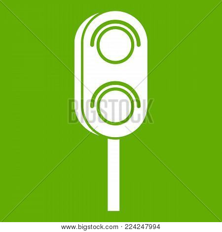 Semaphore trafficlight icon white isolated on green background. Vector illustration