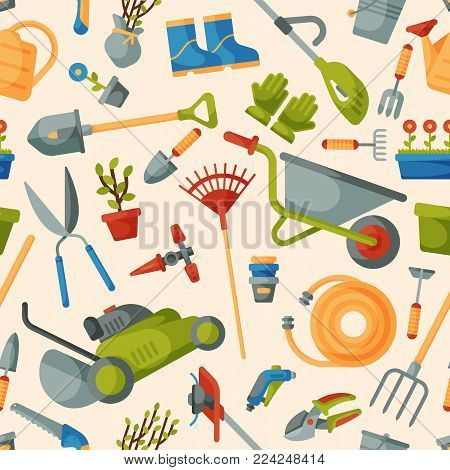 Garden tool vector gardening equipment rake or shovel and lawnmower of gardener farm collection or farming set illustration seamless pattern background.
