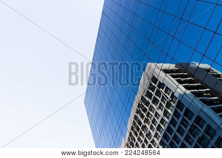 Building With Blue Mirrors Decorated.