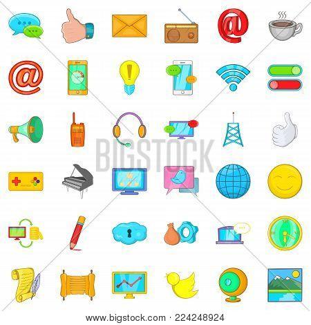 Media work icons set. Cartoon set of 36 media work vector icons for web isolated on white background
