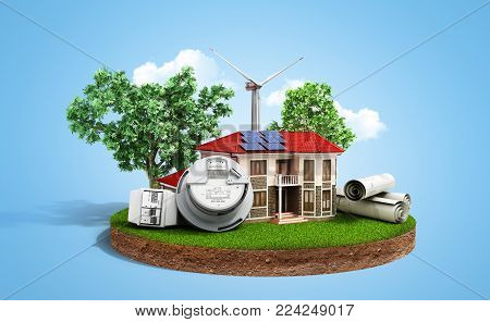 concept of energy saving house with solar panels and a windmill on a piece of land near the meter of electricity 3d render on blue