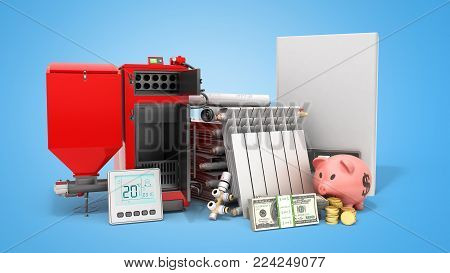 modern concept heating saving solid fuel boiler battery electric boiler and thermostat 3d render on a blue background