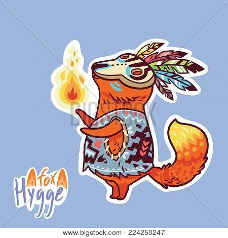 Hygge fox character. Vector sticker. Cartoon ethnic style baby fox shaman with fire.