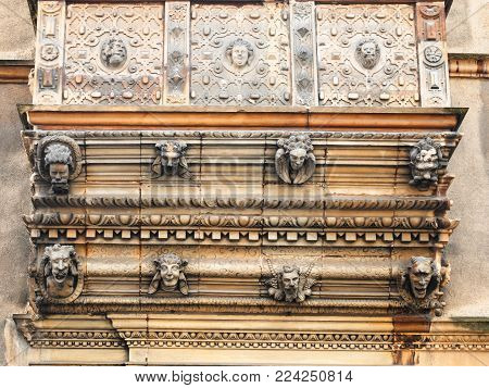 COLMAR, FRANCE - JULY 11, 2010: decorated balcony of Maison des Tetes (House of Heads) on Rue des Tetes in Colmar city.This house was built in 1609 by architect Hans Burge