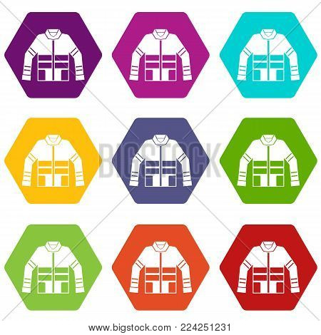 Firefighter jacket icon set many color hexahedron isolated on white vector illustration