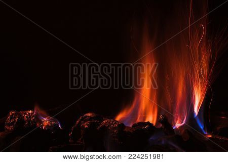Camp fire in the dark night background.
