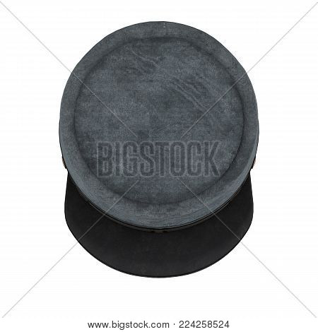 Civil War Confederate Cavalry Hat. American Confederate Kepi. Top view. 3D render Illustration isolated on a white background.