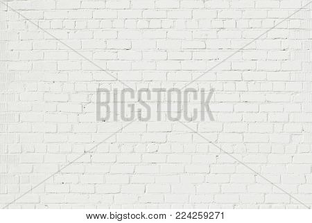 Abstract Whitewash Brickwall Background Texture. Restoring Old Brick Wall Painted White Color. Grunge Wallpaper or Web banner With Copy Space For design