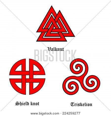 Vector symbol set valknut, shield knot and triskelion