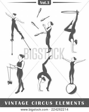 Set of elements of the circus isolated on white background. Symbols for circus design labels and emblems. Vector illustration
