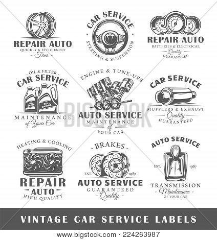 Set of vintage car service labels. Templates for the design of labels and emblems. Collection of car service symbols: tire, engine, muffler. Vector illustration
