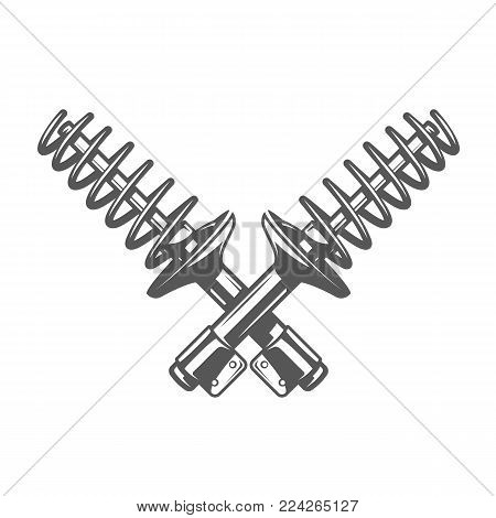 Element of the car service. Shock absorber isolated on white background. Symbol for car service design labels and emblems. Vector illustration
