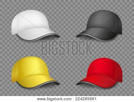 The multicolor white black yellow red empty caps template with shadow on transparent background