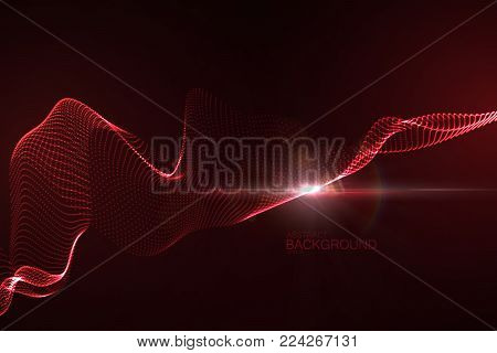 3D illuminated abstract digital wave of glowing particles and flare lens light effect. Futuristic vector illustration of particles. Technology concept of radio or sound wave. Abstract background