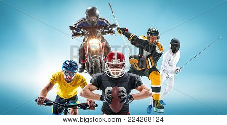 The conceptual multi sports collage with american football, hockey, cyclotourism, fencing, motor sport on blue background. Concept of athletes in helmets and masks
