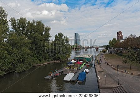 FRANKFURT, GERMANY-SEPTEMBER 09, 2017: Floating Club on the Main river in Frankfurt am Main, Germany