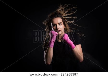 Fashion Portrait Of Strong Active Kick Boxing Woman Training.