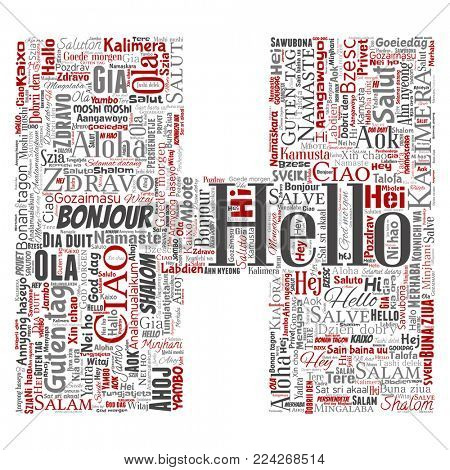 Concept or conceptual letter font H hello or greeting international tourism word cloud in different languages or multilingual. Collage of world, foreign, worldwide travel translate, vacation
