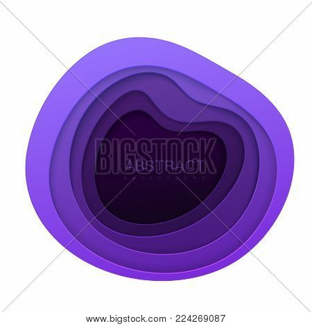 Abstract paper cut background. Violet paper layered cavity isolated on white. Origami or carving decorative frame. Topography concept. Vector illustration