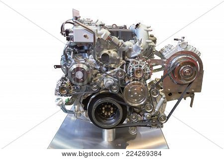 Front view of modern internal combustion engine of the truck