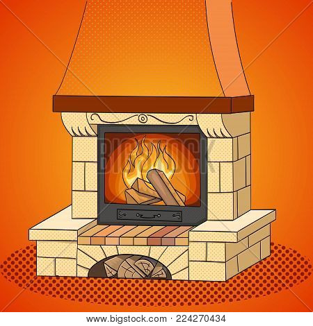 Pop art vector illustration. A brick fireplace burns a tree. Works and heats. The background is red.
