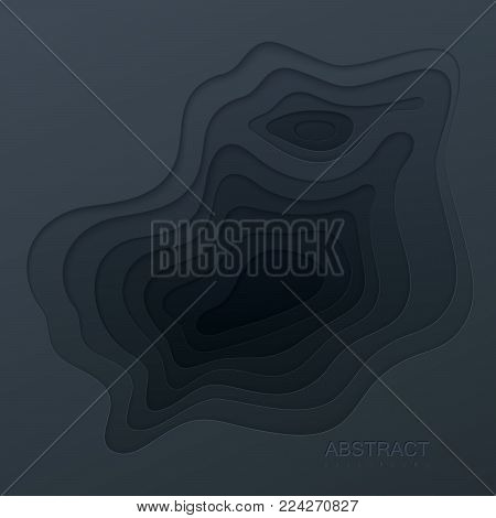Abstract paper cut background. Black paper layered cavity. Origami or carving decorative frame. Topography concept. Vector illustration