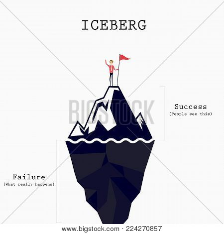 Achievement,Success and Leadership concept.Climber with flag conquering top of Iceberg.Businessman holding a flag on Iceberg peak.Risk analysis iceberg.Iceberg infographic template.Abstract education idea concept.Vector illustration