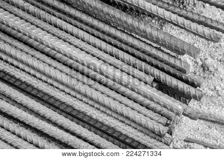 Rebars for reinforcement concrete structure in the construction site poster