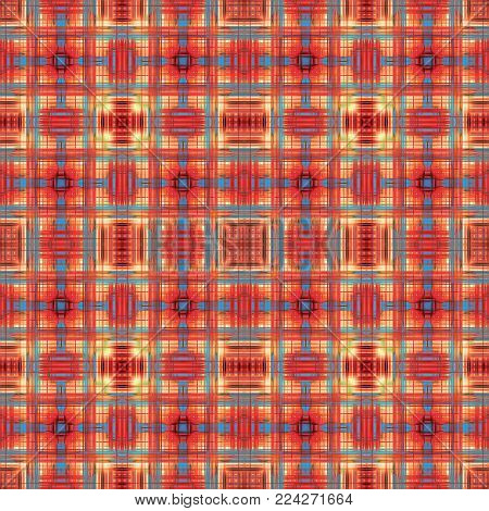 Colorful abstract red and blue grid pattern