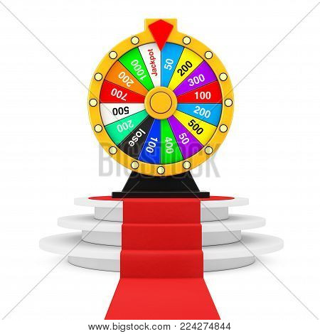 Luck and Fortune Concept. Spinning Colorful Fortune Wheel over Round White Pedestal with Steps and a Red Carpet on a white background. 3d Rendering