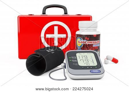 Medical Case, Plastic Bottle with Blood Pressure Support Pills and Digital Blood Pressure Monitor with Cuff on a white background. 3d Rendering