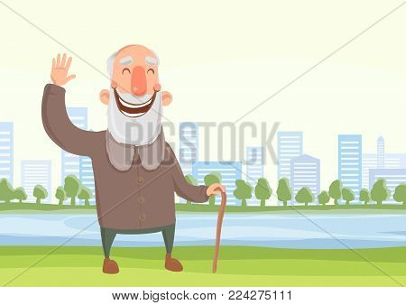Happy smiling old man with a cane on the morning walk in city park. Active lifestyle and sport activities in old age. Vector illustration.