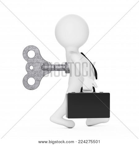 3d Businessman Person with Old Metal Windup Key in His Back on a white background. 3d Rendering