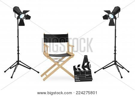 Cinema Industry Concept. Director Chair, Movie Clapper and  Spotlights on a white background. 3d Rendering.