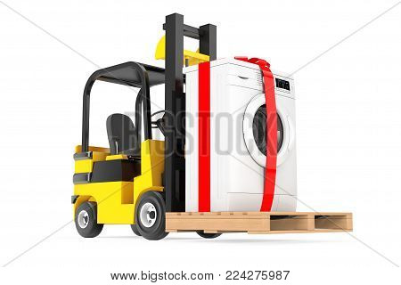 Forklift Truck moves Modern Washing Machine with Ribbon and Bow as Gift on a white background. 3d Rendering