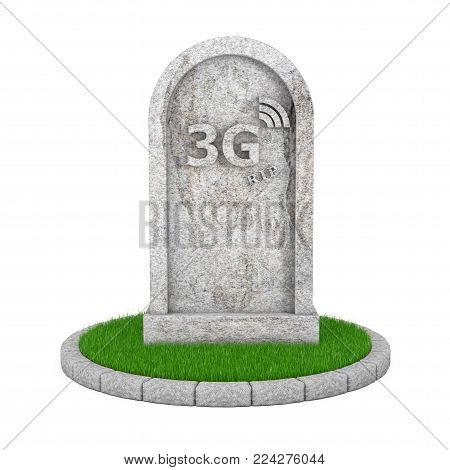 Gravestone with RIP 3G Cellular Technology Sign on a white background. 3d Rendering