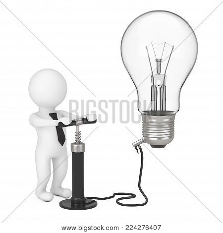 3d Person with Black Hand Air Pump Inflates Idea Light Bulb on a white background. 3d Rendering.